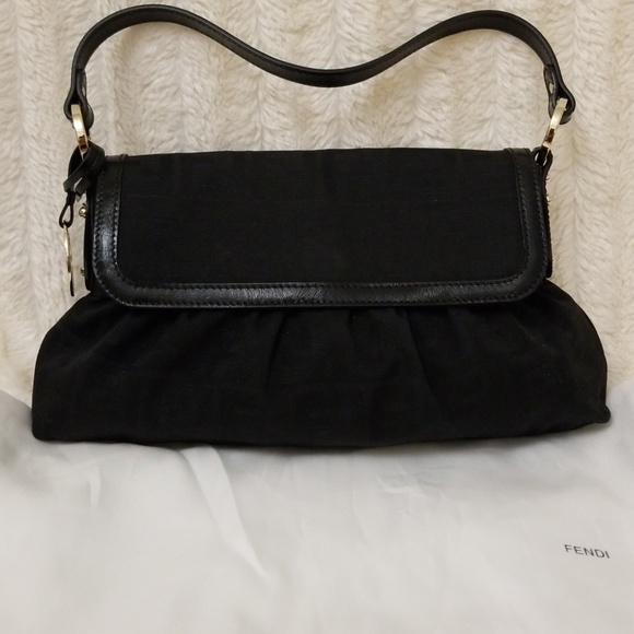 d2faa41c29b7 Authentic FENDI black canvas leather trim bag